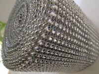 14 m elegante Strass Band Borte Nichtelastisch Spitze Silber 11,8cm Breit PT 041