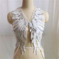1 pair Silver White Wings Applique Embroidery Angels Motif for Dress up Costumes