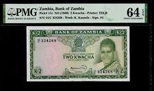 Zambia 2 Kwacha 1969 PMG 64 EPQ UNC  P# 11c