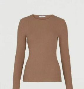 Michelle Keagan Ribbed Stretch Long Sleeve Leisure Top Coffee Brown Size 16 BNWT
