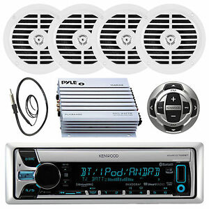 Marine Kenwood CD/MP3 Bluetooth Player Antenna,400W Amp,4 Speakers,Wired Remote