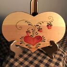Signed Hand Painted Vintage Folk Art Strawberries on Wood Heart w/ Story on Back