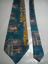Pierre Cardin Men's Vintage Tie in a Mustard and Aquamarine Abstract Pattern