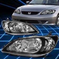 Fit 2004-2005 Honda Civic JDM Black Crystal Lens Clear Corner Signal Headlight