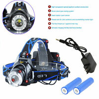 10000LM LED Zoom Headlight Hiking Head Lamp + 2x18650 Battery + Charger