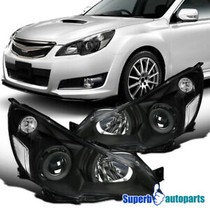 For 2010-2014 Subaru Legacy Black Projector Headlights w/ Parking Lamps Pair