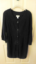 LOFT BLACK BUTTON FRONT SWEATER COAT, size LARGE L