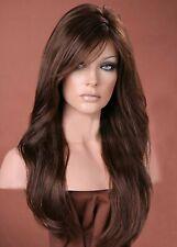 Forever Young Dark Auburn Mix Long Sweeping Fringe Wavy Wig UK Fashion Wigs
