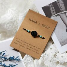 Braided Women Black Natural Stone Rope Bracelet Bangle Friendship Card Jewelry