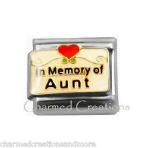 In Memory Of My Aunt Red Heart Scroll 9mm Italian Charm Stainless Modular Link