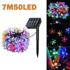 7M 50LED Solar String Lights Blossom Flower Fairy Lights Outdoor Christmas