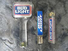 Vintage Bud Light Beer Tap Handle (Lot Of 3) Acrylic & Metal handles, Nice Lot 3