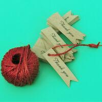 """100pcs """"Thank You """"Kraft Paper Hang Gift Tags Wish Bottles DIY Label+Twines"""