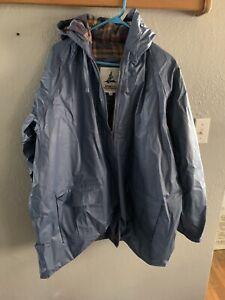 Misty Harbor Blue Raincoat Plaid Lining Hood 2XL Adult Vintage