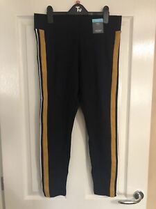 BNWT Ladies M&S Navy Mustard Stripe Leggings Size 14S 14 Short