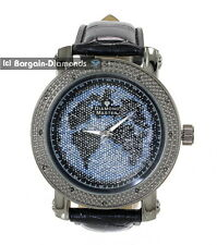 mens big gunmetal black diamond world map watch blue black ice out master