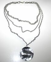 Silpada Sterling Oxidized Circle Pendant Triple Chain Necklace N1725 Rare .925