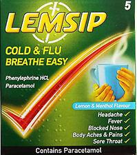 Lemsip Cold & Flu Breathe Easy Lemon + Menthol Flavour 5 Pack-Fever,Blocked Nose