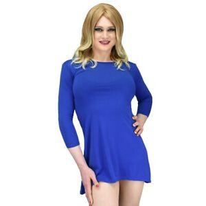 Blue Long Sleeve Flowy Evening Casual Mini Dress Crossdressers, All Sizes