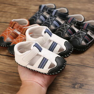 Newborn Infant Baby Boy Crib Shoes Child Rubber PreWalker Sandals Trainers 0-18M