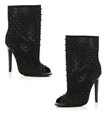 River Island Black Studded Peep Toe Ankle Boots Size 7 ~ Worn Once