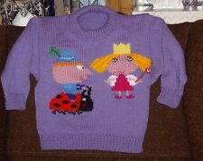BEN AND HOLLY LITTLE KINGDOM .NEW SIZE 4 HAND KNITTED100% ACRYLIC