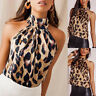 Women Leopard Printed Halter Neck Cami Vest Evening Party Top Christmas Blouse A