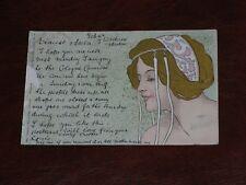 ORIGINAL HENRI MEUNIER ART NOUVEAU GLAMOUR POSTCARD - YOUNG WOMAN - GILT.
