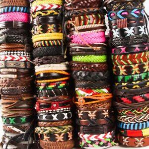 New 50pcs/Lots assorted Handmade Leather Cuff Bracelet adjustable jewelry