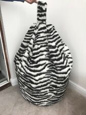Bean bag cover only black & white zebra animal print faux fur 6 cubic ft size