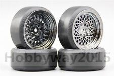 4x CS-R 1/10 Drift Tires Tyre Wheel With Silencing Sponge 6mm Offset 10362+20061