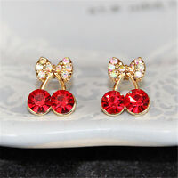 Women's Sweet Charm Crystal Cherry Bowknot Stud Earrings Rhinestone Earrings NT