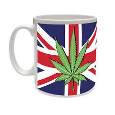 Cannabis / Foglia di canapa in Bandiera Union Jack-British / novità a tema TAZZA IN CERAMICA