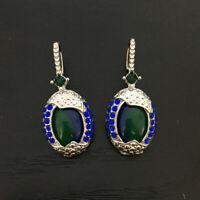 Hook Earrings Drop Dangle Ear Opal Women's Sapphire Exquisite Silver Blue 925