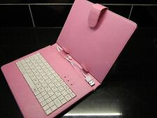 "Pink PU Leather USB Keyboard Carry Case/Stand for Coby Kyros 8"" Inch Tablet"