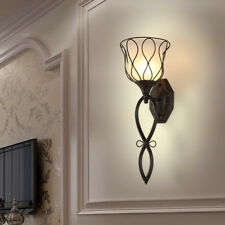 French Country Black Metal Floral Shaped White Glass Porch Long Wall Lamp Sconce