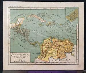 AMERICA CENTRAL ANTILLAS PUERTO RICO 1931 MAP, J. DE LA G. Artero