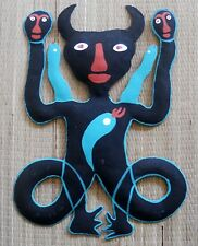 "HAND PAINTED METAL ART VODOU OR VOODOO BOSSOU DAMBALLA WALL HANGING 11.5"" HIGH"