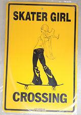 """""""Skater Girl crossing"""" metal skateboard sign longboard 18""""x12"""""""