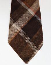 Tartan check country tie vintage British made Scottish plaid brown acrylic 1970s