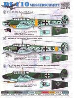Print Scale Decals 1/72 MESSERSCHMITT Bf-110 German Fighter-Bomber