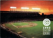 1992 CHICAGO CUBS POCKET SCHEDULE - WRIGLEY FIELD ON FRONT - BUDWEISER ON BACK