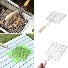 BBQ Barbecue Net Fisch Grid Grillen Korb Folder Tool Braten mit Holzgriff Neu