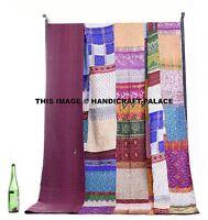 Indian Bohemian Patchwork Kantha Sari Quilt Silk Sari Patchwork Queen Bedspread