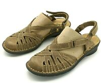CLARKS Bendables Women's Size 5 M Brown Sandals Leather Closed Toe Slingback