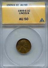 1909 S 1c ANACS AU 50 (ABOUT, ALMOST UNCIRCULATED) LINCOLN CENT