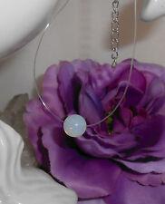Unsichtbare Halskette schwebende Kugel Opalith ( Mondstein ) Nylon transparent