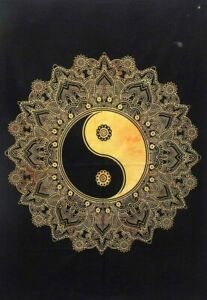 Yellow Color Flower Yin Yang Wall Hanging Cotton Tapestry Poster Handmade Indian