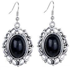 Hollow Out Silver Plated Oval Black Turquoise Women Hook Earrings Gems Jewelry