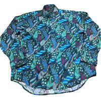 90s VTG COLOURS by ALEXANDER JULIAN XL Shirt All Over Print Funky VAPORWAVE